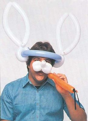 You can make your own rabbit hat out of balloons.