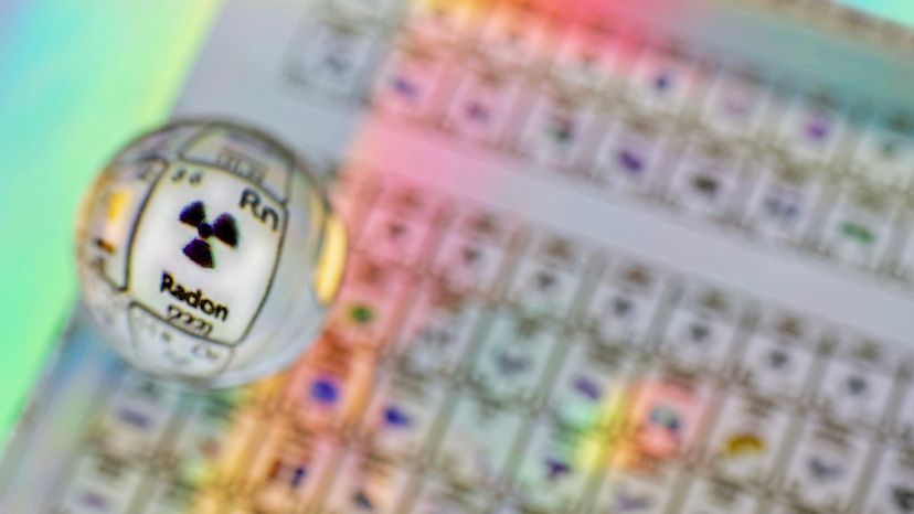 Defocused periodic table of the elements with the element Radon magnified through a glass marble.