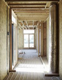 A new home with a hydronic radiant floor heating system.