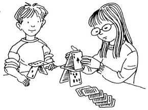 Build a house from playing cards.