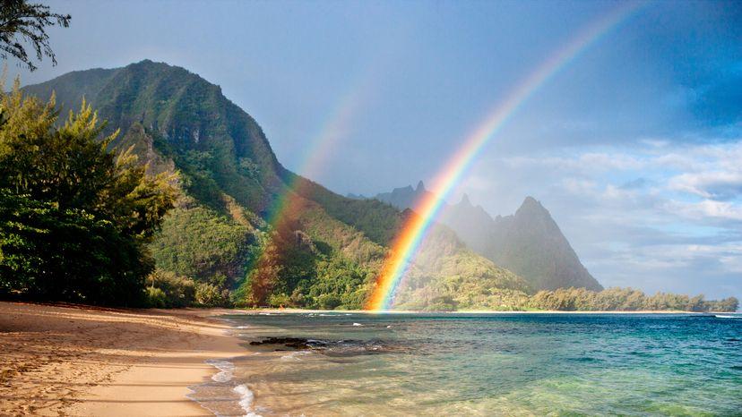Double rainbow at tunnels beach in Kauai, Hawaii