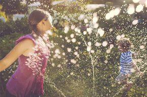 You can easily create a rainbow using a garden hose and the sun.