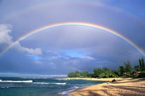 A double rainbow appears over Tunnels Beach, Hawaii; note how much fainter the second rainbow is than the first one. There can be triple and quadruple rainbows too but you probably can't see them.