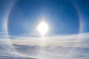 A circular rainbow is seen at Eagle Summit, Alaska.