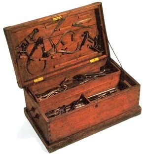 """Railroad machinists learned their craft as apprentices, and they often made their own tools and the cases to store them. This chest represented thousands of years of skill distilled into hard-won """"finger knowledge."""""""