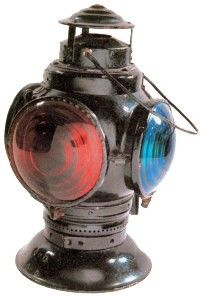 Railroads developed elaborate rules for the safe operation of trains. Lanterns and color signals played a large part in those rules, this is a rear-end marker lamp, used to identify the back end of a train.