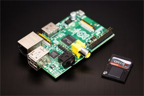 The Raspberry Pi pictured here with an SD memory card.