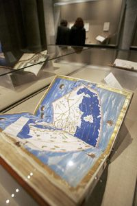 """A copy of Ptolemy's """"Geographia"""" on display at the New York Public Library in 2005."""