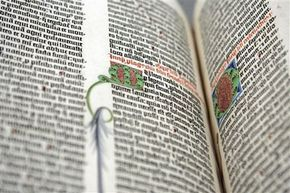 A detail from the first volume of a Gutenberg Bible, on display at New York's Morgan Library and Museum.