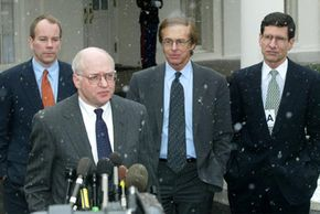 Martin Feldstein (front), president of the National Bureau of Economic Research, speaks in Washington, D.C., in 2003.