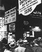 In the Great Depression of the 1930s and '40s, laid-off U.S. workers lined up daily at employment agencies.