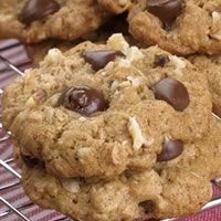 Oatmeal Chocolate-Chip Cookies, hot out of the oven.