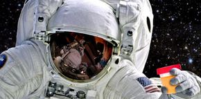 Astronaut with cup of urine