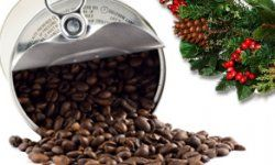 Coffee beans in tin can isolated on white. Christmas wreath