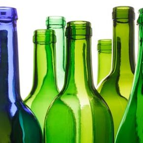 These old wine bottles could be repurposed into vases, lights, plant nannies or even a chandelier.