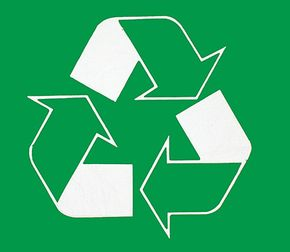 Look for this logo to see if a product is recycled or for a recycling center.