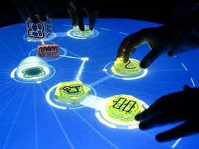 The position of each object on the reactable's tabletop surface is analyzed by the computer vision software underneath known as reacTIVision.