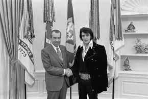 This famous shot of Elvis Presley with President Nixon at the White House is the most requested photo at the U.S. National Archives.