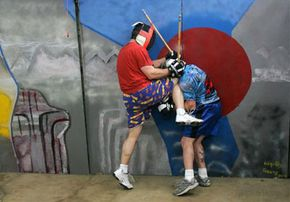 Members of the Gentlemen's Fighting Club in Silicon Valley tussle in 2006.