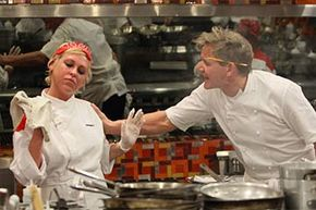 Chef Gordon Ramsay tells off a contestant on 'Hell's Kitchen' but she's not taking it. Long hours of shooting and short hours of sleep contribute to the drama of reality TV shows.