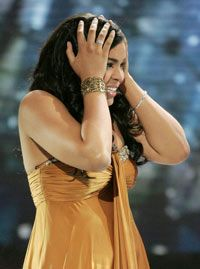"""Jordin Sparks reacts after winning the singing competition show """"American Idol."""""""