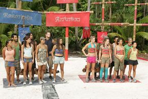 Contestants get ready for a challenge on Survivor: Cook Islands in 2006.