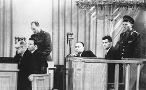 Accused of espionage over Russia in his U-2 surveillance plane, Gary Powers attends his trial in Moscow on Aug. 18, 1960.