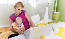 Working at home allows many people to do things they wouldn't be able to do in an office, such as be with their kids.