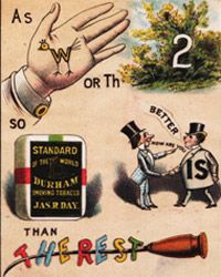 This tobacco advertisement from 1879 features several rebus puzzles.