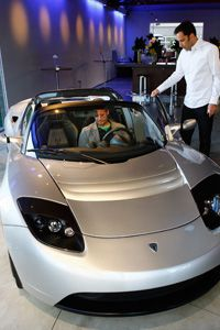 The Tesla Roadster is a fully electric car.