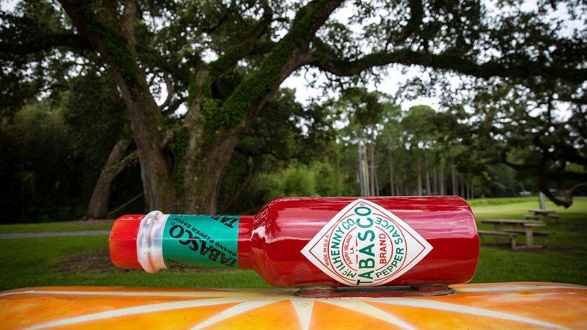oversized bottle of Tabasco hot sauce, Avery Island