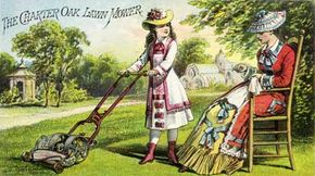 This reel mower advertisement from the 1870s stresses the product's lightweight, easy-to-use design by demonstrating that even a little girl can use it.