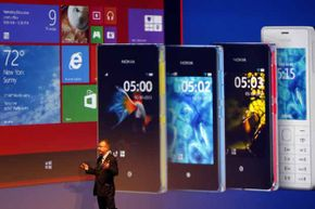"""Nokia CEO Stephen Elop unveils Nokia latest products in Abu Dhabi in 2013. Nokia introduced the very first ringtone in 1994, based on a classical guitar piece called """"Gran Vals."""" Quite a change from its beginnings selling rubber boots"""