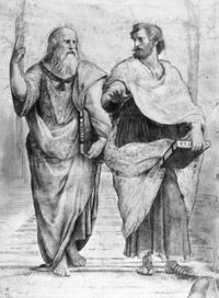 Plato, on the left, potentially discussing his belief in reincarnation with Aristotle.