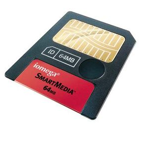 This SmartMedia card holds 64 MB.