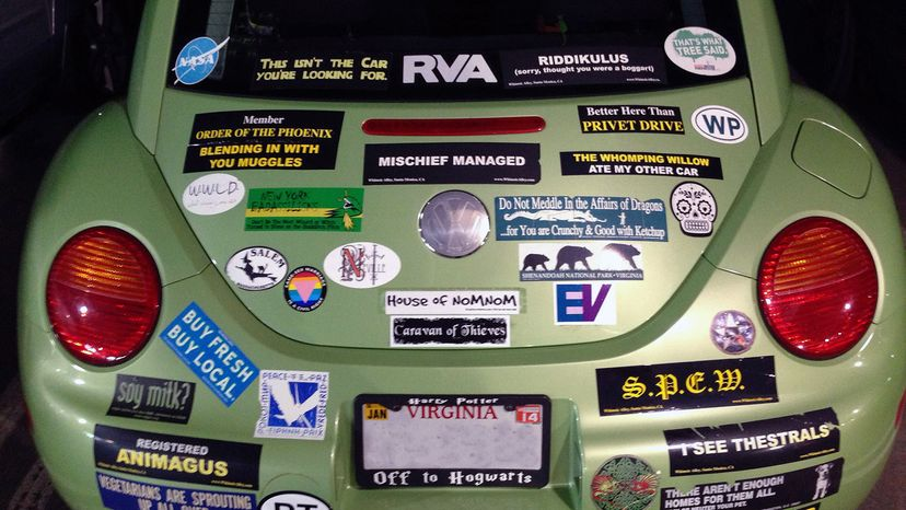 car with bumper stickers