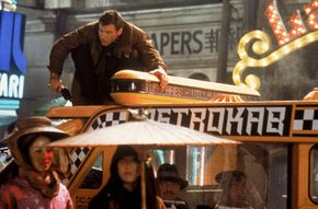 Harrison Ford as Rick Deckard, a man with a dangerous job.