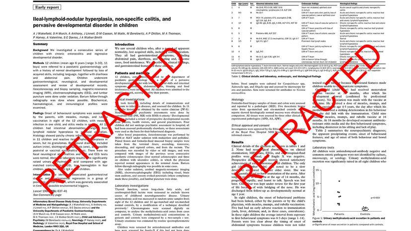 retracted autism paper