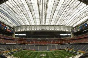 The retractable roof is closed on Houston's Reliant Stadium. See more football pictures.