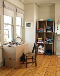 No closets? No problem. Cardboard offers a variety of storage solutions.