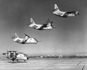 The LTV-Hiller-Ryan XC-142 tilt-wing aircraft transitions from vertical takeoff to horizontal flight in this photo montage.
