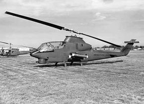 The Bell Huey Cobra was an aerial fire support system with a narrow, tandem-seat fuselage and small stub wings for additional lift and an armament platform.