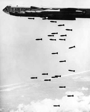 The Boeing B-52 was designed as a strategic long rifle, able to fly alone or in cells of three deep into the Soviet Union with powerful nuclear weapons. During the Vietnam War it became a tactical artillery barrage.