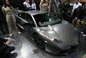 The Murcielago LP640, the Reventon's less expensive cousin. The Lamborghini Reventon at the 2007 International Auto Show in Frankfurt, Germany.