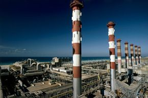Desalination plants use reverse osmosis to turn salty water into fresh.