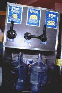 At some retail stores, you can buy jugs of reverse osmosis-treated water from vending machines.
