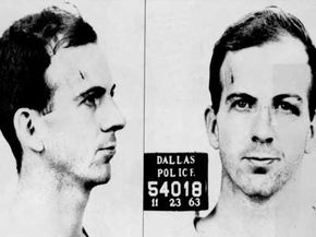 Lee Harvey Oswald's mug shot. The inconsistent quality of revisionist theories, including those surrounding JFK's assassination, contributes to the low credibility of historical revisionism.