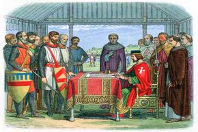 An illustration of England's King John signing the Magna Carta in 1215. The document was the first ever signed by a king of England to protect the rights of his subjects.