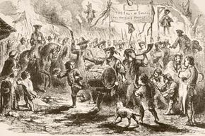 Riots have a long history in the United States. This print shows colonists rioting after the British Parliament passed the Stamp Act in 1765. See more pictures of protests.
