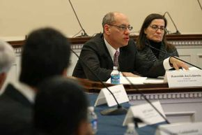 Jon Leibowitz, chairman of the Federal Trade Commission (FTC), and Julie Brill, FTC commissioner, participate in a briefing on electronic data collection on Capitol Hill.